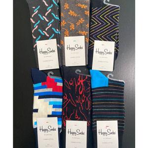 Happy Socks - 6 pairs - NEW - Size: 9-11
